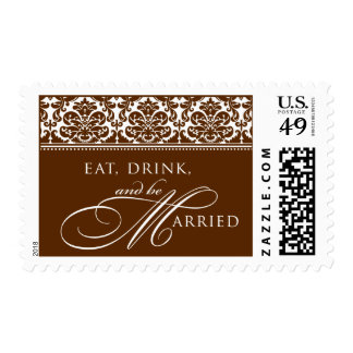 Eat, Drink, and be Married Damask Postage