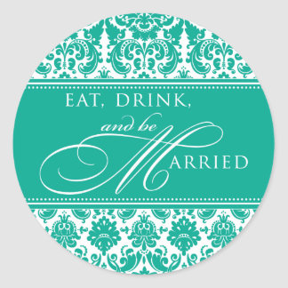 Eat Drink and be Married Damask Sticker