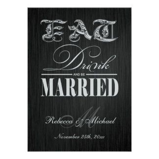 Eat, Drink and be Married - Elegant Black & Silver Invitation