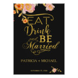 Eat drink and be married elegant faux gold wedding poster