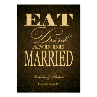 Eat Drink and be Married - Elegant Metallic Gold Announcement