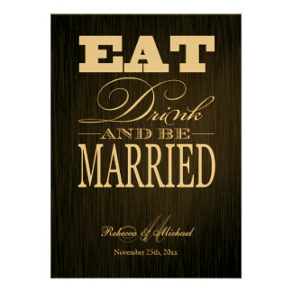 Eat Drink and be Married - Elegant Metallic Gold Custom Announcements