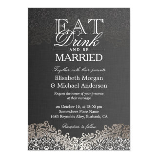 EAT Drink and Be Married Elegant Silver Damask Card