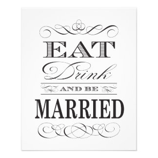 """Eat Drink and be Married Elegant Wedding 4.5"""" X 5.6"""" Flyer"""
