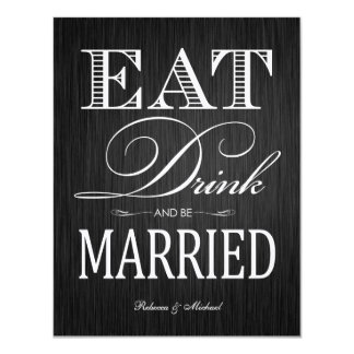 Eat Drink and be Married - Felt 4.25x5.5 Paper Invitation Card