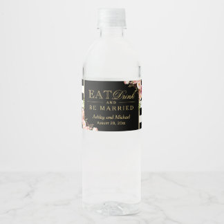 Eat Drink and Be Married | Floral Stripes Wedding Water Bottle Label