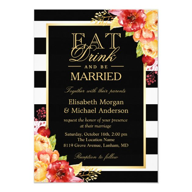 EAT Drink and Be Married Gold Autumn Fall Wedding Card (front side)