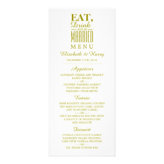 Eat, Drink and be Married Gold Wedding Menu
