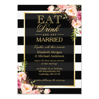 EAT Drink and Be Married Golden Floral Wedding Card