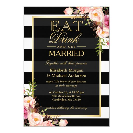 EAT Drink and Be Married Golden Floral Wedding Card | Zazzle