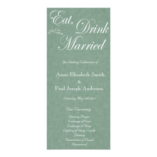 Eat Drink and be married green fabric program Personalized Rack Card