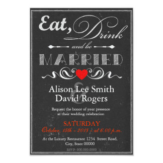 """Eat, Drink and be Married Invitación 3.5"""" X 5"""""""