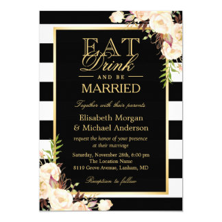 EAT Drink and Be Married   Ivory Floral Wedding Card