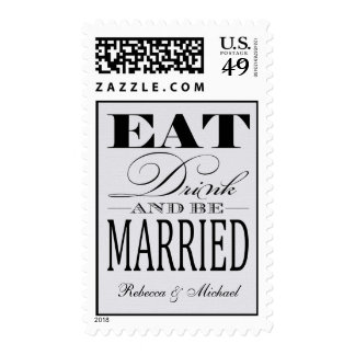 Eat Drink and be Married - Linen Background Postage Stamp
