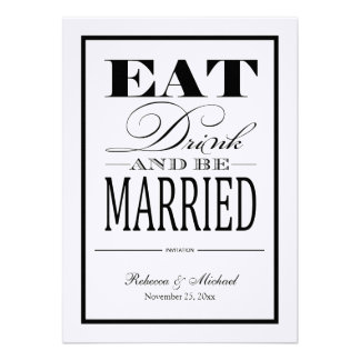 Eat Drink and be Married - Linen Paper Invites