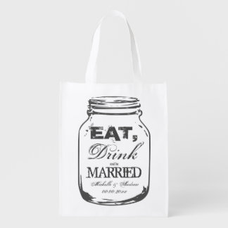 Eat drink and be married mason jar reusable bags market tote