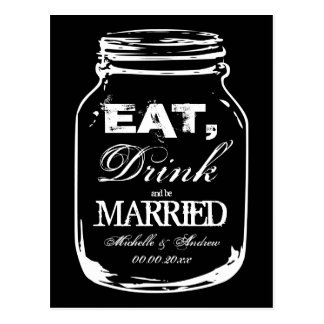 Eat drink and be married mason jar thank you cards