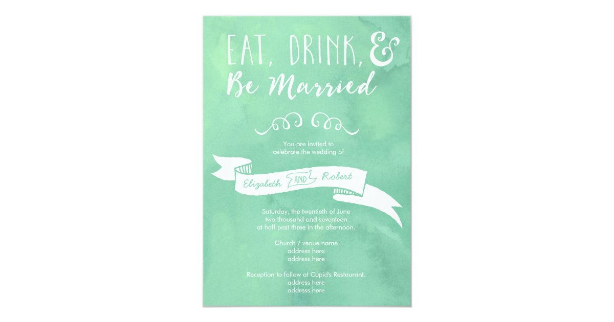 Wedding Invitations Eat Drink And Be Married: Eat, Drink, And Be Married Mint Wedding Invitation