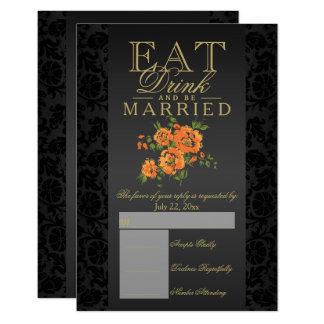 Eat, Drink and Be Married Orange Floral RSVP Card
