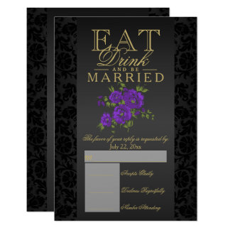 Eat, Drink and Be Married Purple Floral RSVP Card