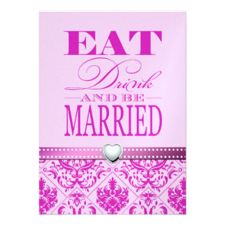 Eat Drink and be Married - Purple / Pink Damask Personalized Announcements