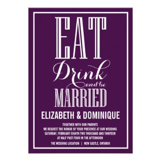 Eat Drink and Be Married Purple Wedding Invitation
