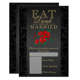 Eat, Drink and Be Married Red Floral RSVP Card