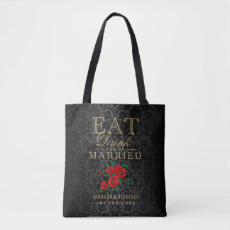 Eat, Drink and be Married - Red Flowers on Black Tote Bag