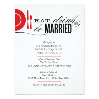 Eat, Drink and Be Married Rehearsal Dinner Invite