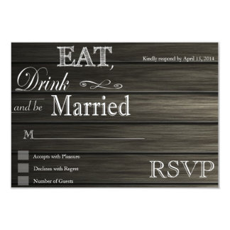 Eat Drink and be Married rustic RSVP Card