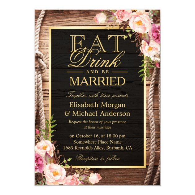 EAT Drink and Be Married Rustic Wood Knot Floral Card