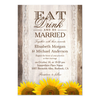 EAT Drink and Be Married Rustic Wood Sunflower Card