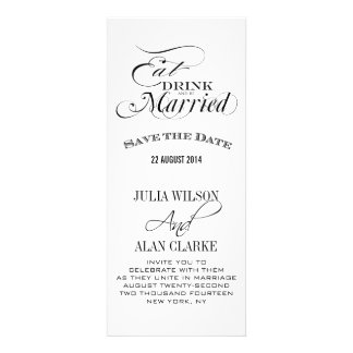 Eat Drink and Be Married Save the Date Cards Personalized Announcements