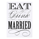 EAT DRINK AND BE MARRIED - SAVE THE DATE PERSONALIZED ANNOUNCEMENT