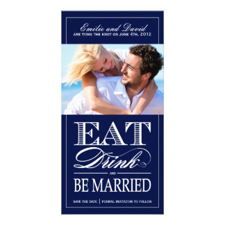 Eat, Drink and Be Married Save the Date Invite Picture Card