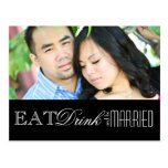Eat, Drink and be Married   Save the Date Post Card