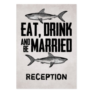 Eat Drink and be Married Shark Reception Card Large Business Cards (Pack Of 100)
