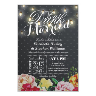 EAT Drink and Be Married String Light Chic Floral Card