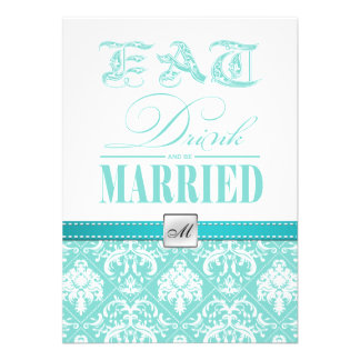 Eat, Drink and be Married - Teal and White Damask Personalized Announcement