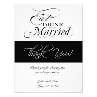 Eat Drink and Be Married Thank You Cards Announcement