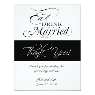 Eat, Drink, and Be Married Thank You Cards Announcement