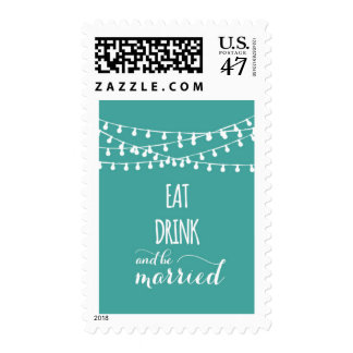 Eat drink and be married turquoise postal stamp