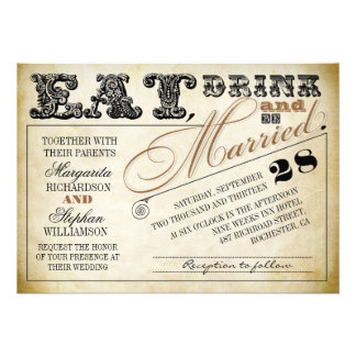 eat drink and be married typography wedding invite