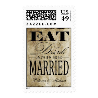 Eat Drink and be Married - Vintage Background Stamp