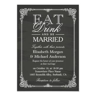 EAT Drink and Be Married Vintage Chalkboard Frame Card