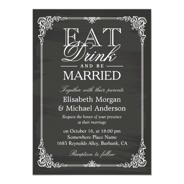 Personalized Eat Drink Be Married Invitations