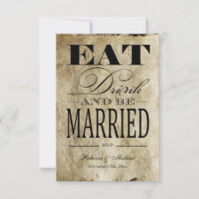Eat Drink and be Married - Vintage Paper RSVP invitation