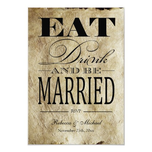 Eat Drink and be Married - Vintage Paper RSVP 3.5x5 Paper Invitation Card