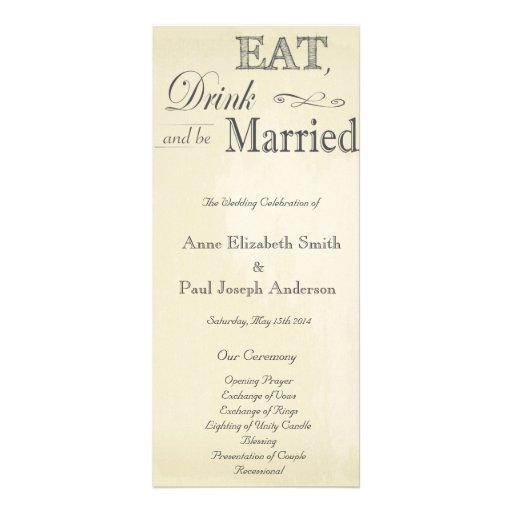 Eat Drink and be married vintage program Rack Cards