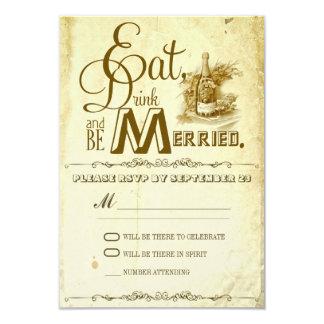 eat drink and be married vintage wedding rsvp card
